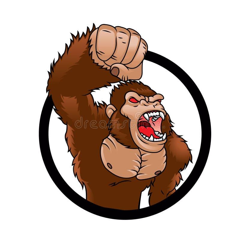 Bande dessinée fâchée de gorille illustration de vecteur