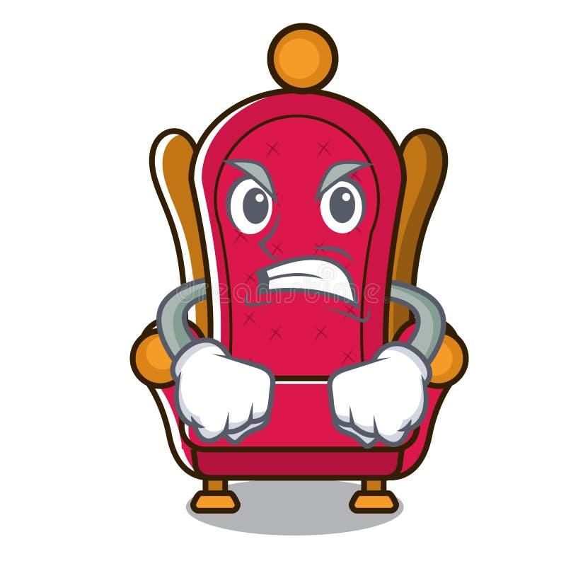 Bande dessinée fâchée de mascotte de trône de roi illustration libre de droits