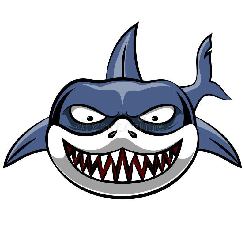 Bande dessinée fâchée de requin illustration de vecteur
