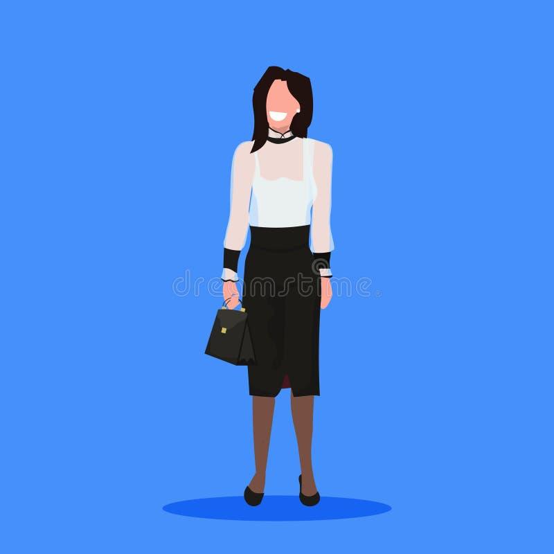 Bande dessinée femelle de sourire d'employé de bureau de femme d'affaires de brune de femme d'affaires de participation de sac à  illustration libre de droits