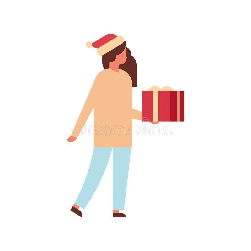 Bande dessinée femelle intégrale de Joyeux Noël de boîte-cadeau de prise de femme de bonne année de vacances de concept actuel de illustration libre de droits