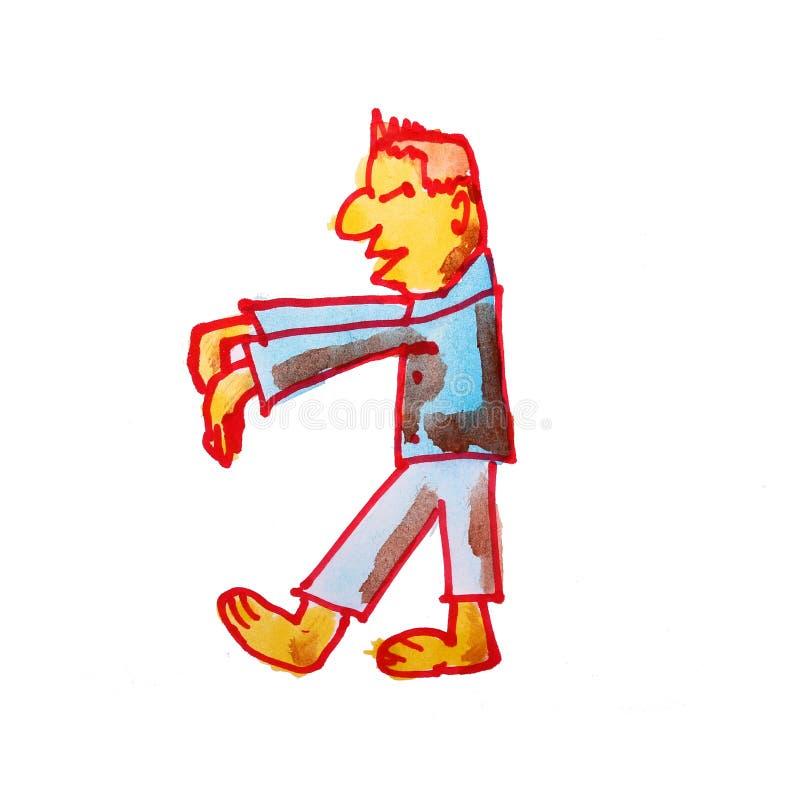 Bande dessinée folle de dessin d'aquarelle d'isolement sur un backgroun blanc illustration stock