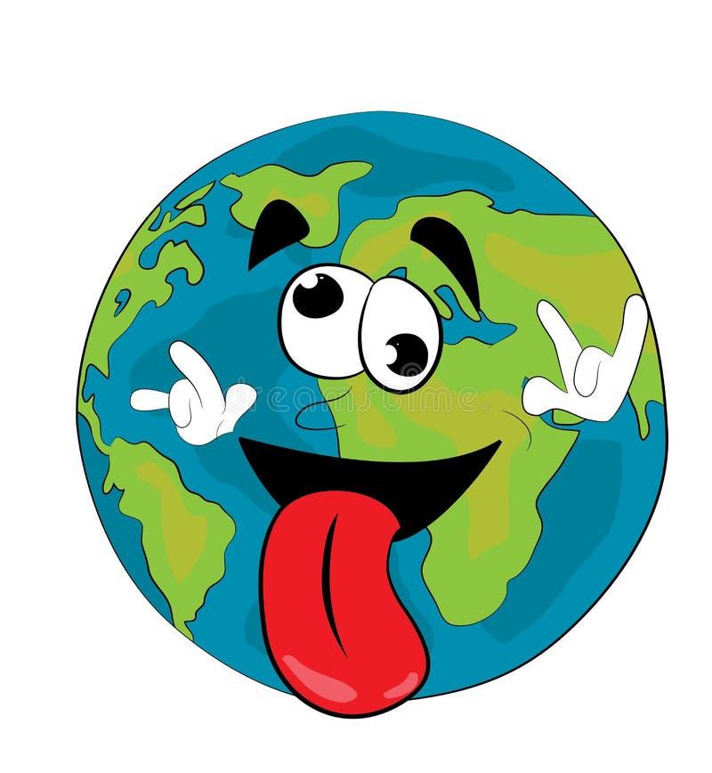 Bande dessinée folle de globe du monde illustration stock