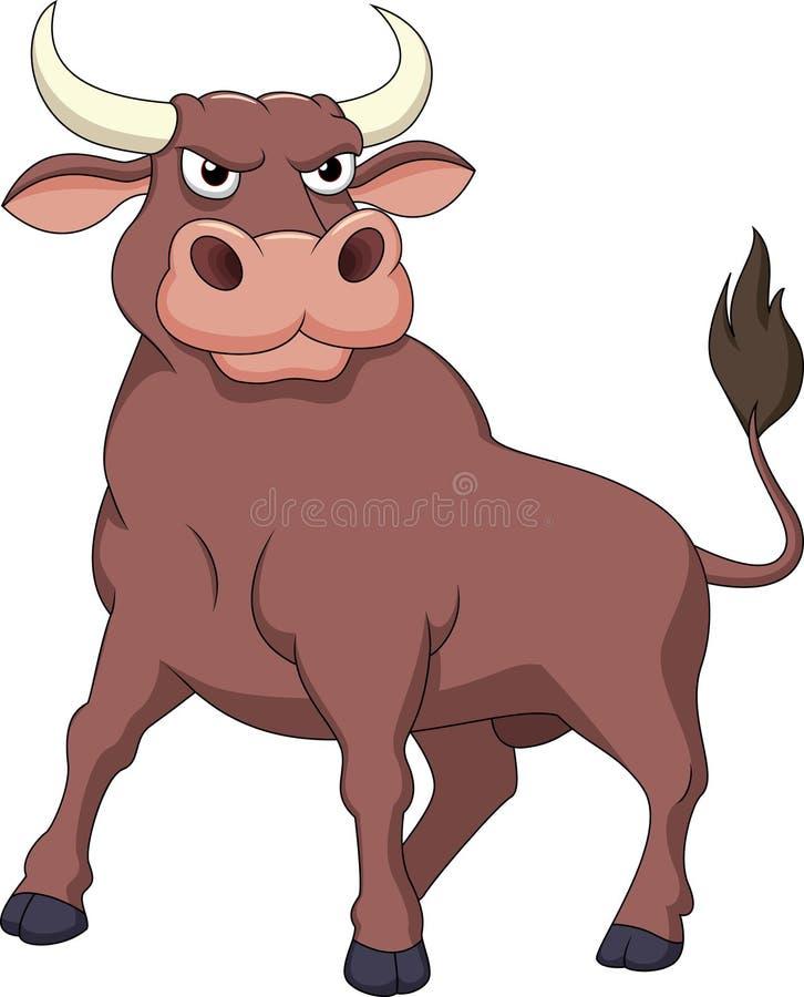 Bande dessinée forte de taureau illustration stock