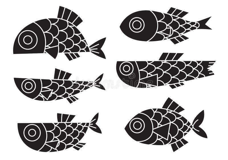 Bande dessinée graphique de poissons, vecteur illustration libre de droits