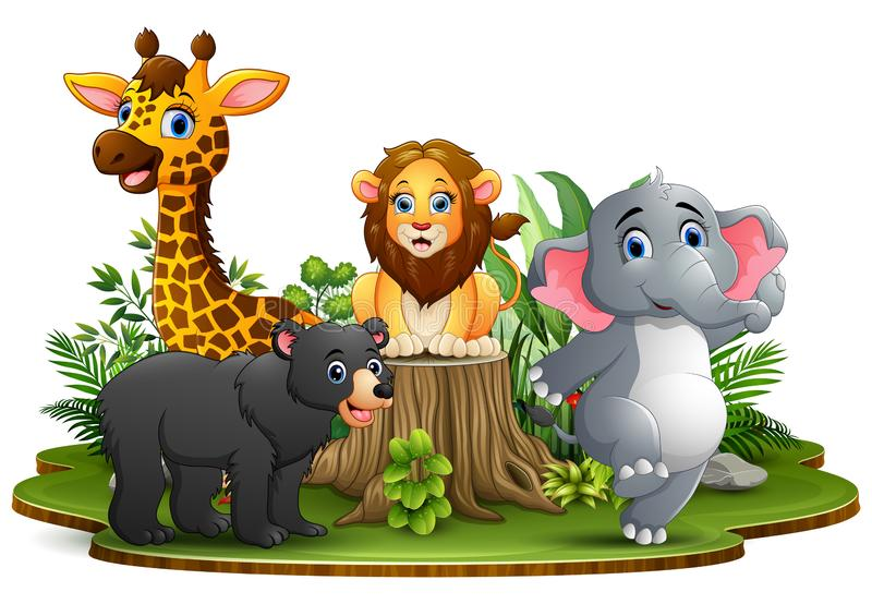 Bande dessinée heureuse d'animaux en parc avec les plantes vertes illustration libre de droits