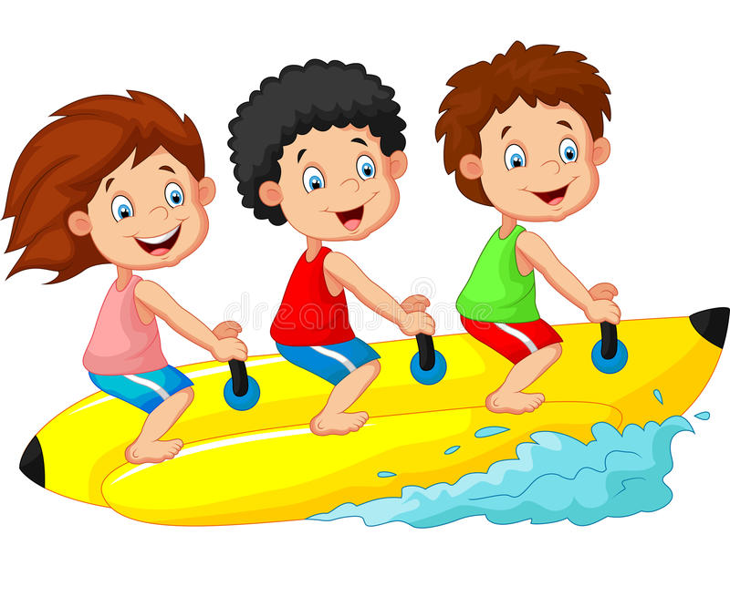 Bande dessinée heureuse d'enfants montant un bateau de banane illustration libre de droits