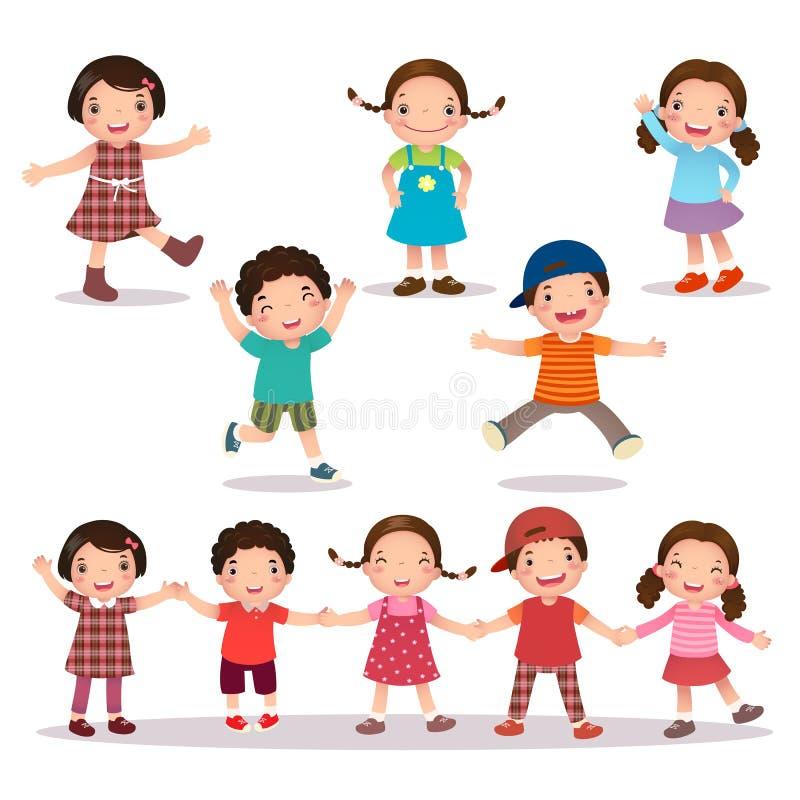 Bande dessinée heureuse d'enfants tenant des mains et sauter illustration libre de droits