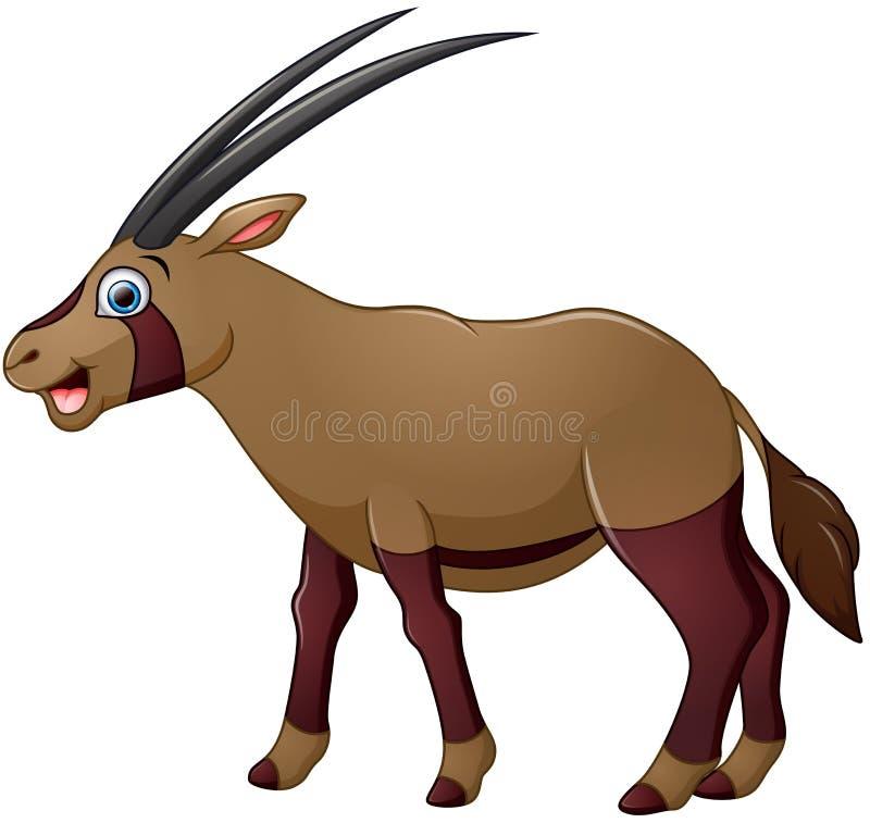 Bande dessinée heureuse d'oryx d'isolement sur le fond blanc illustration libre de droits