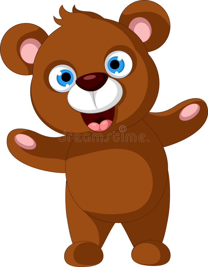Bande dessinée heureuse d'ours brun illustration stock