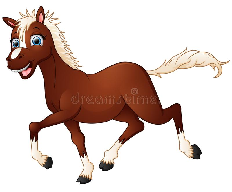 Bande dessinée heureuse de cheval illustration stock