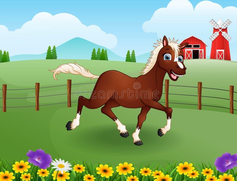 Bande dessinée heureuse de cheval dans la ferme avec le champ vert illustration stock