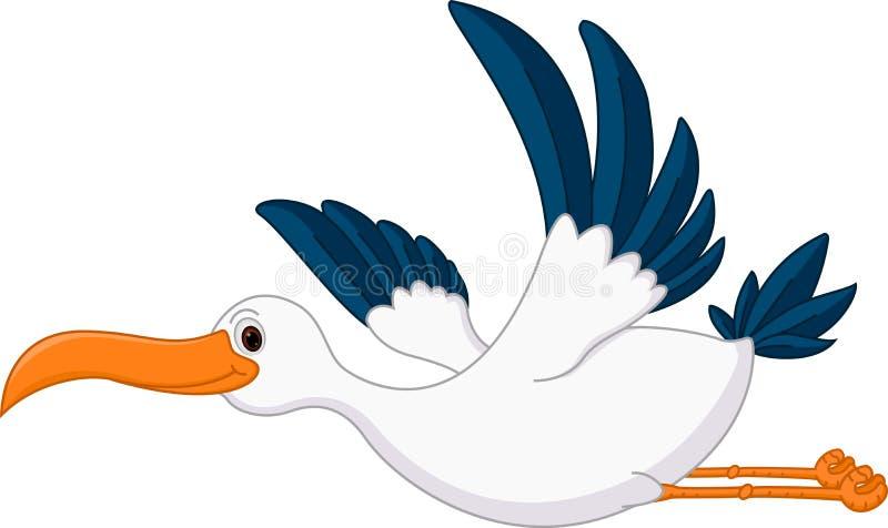 Bande dessinée heureuse de cigogne de vol illustration de vecteur