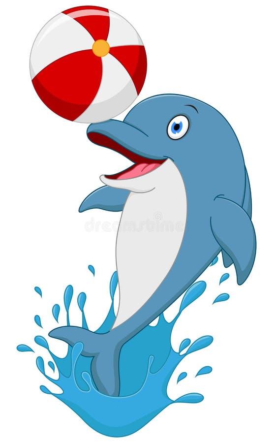 Bande dessinée heureuse de dauphin jouant la boule illustration stock