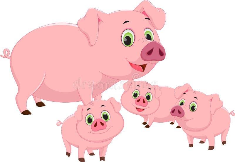 Bande dessinée heureuse de famille de porc illustration libre de droits