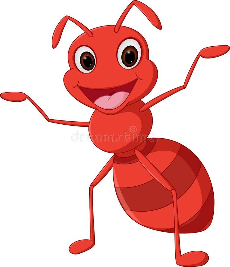 Bande dessinée heureuse de fourmi illustration de vecteur