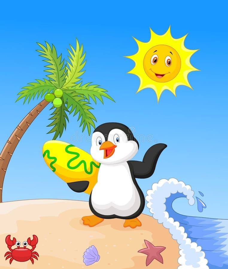 Bande dessinée heureuse de pingouin tenant la planche de surf illustration de vecteur