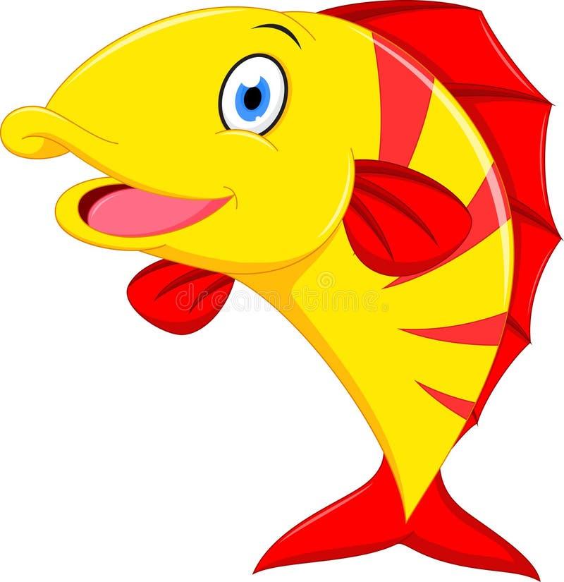 Bande dessinée heureuse de poissons illustration stock
