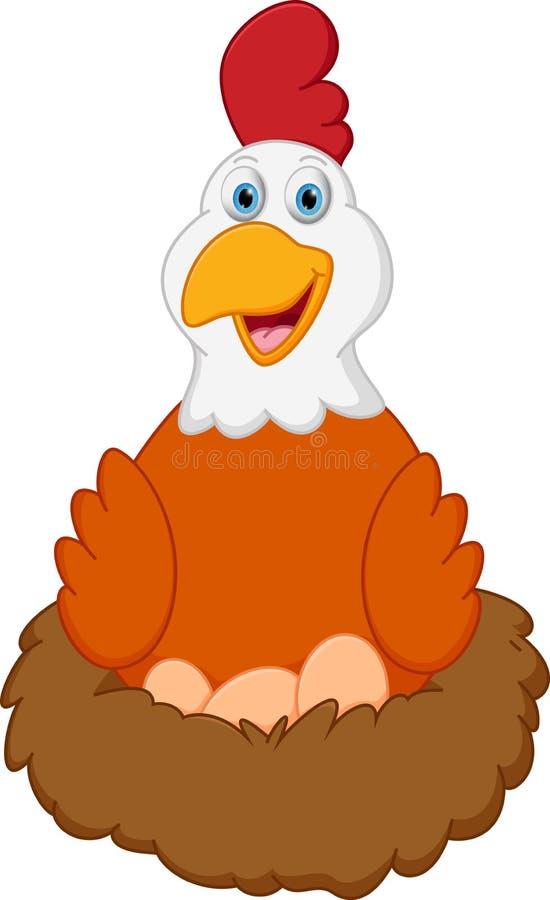 Bande dessinée heureuse de poule avec des oeufs sur le nid illustration de vecteur