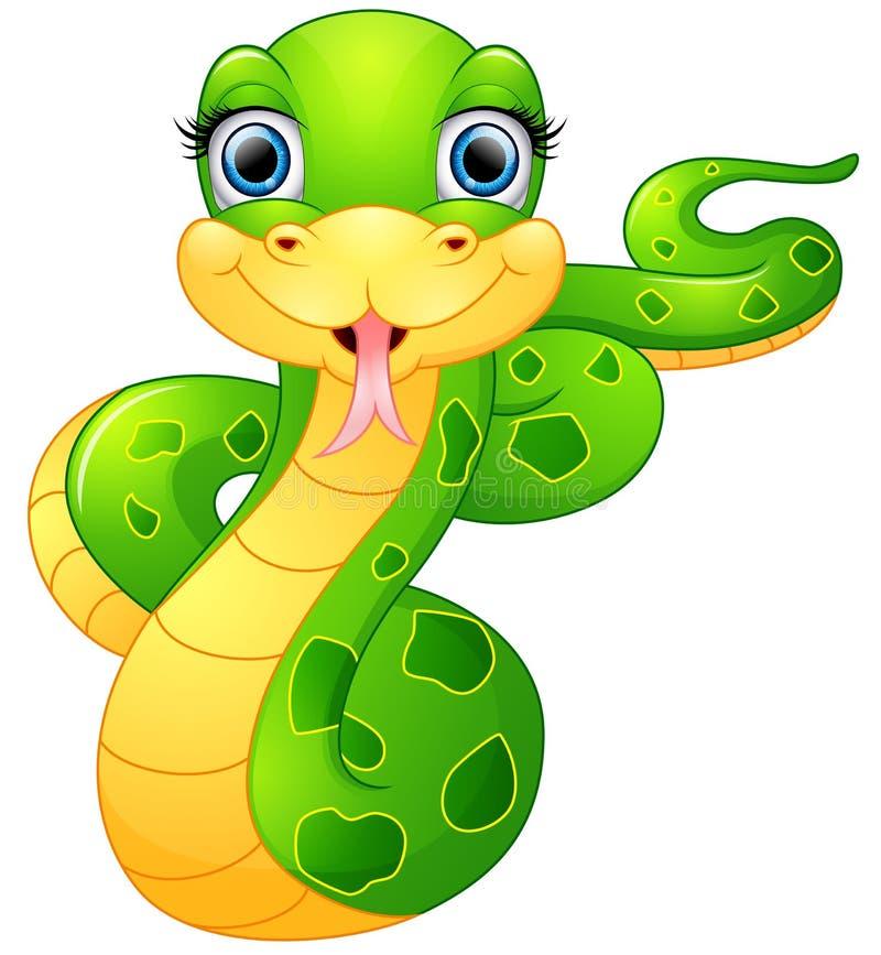Bande dessinée heureuse de serpent vert illustration de vecteur