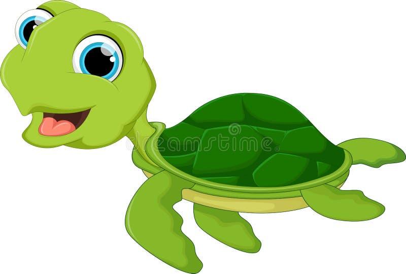 Bande dessinée heureuse de tortue de mer illustration de vecteur