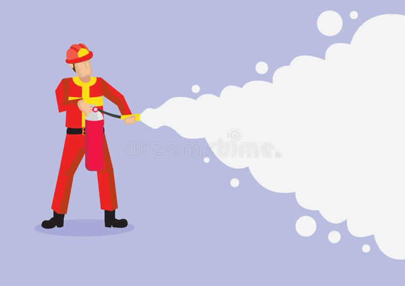 Bande dessinée Illustrati de vecteur de Spraying Firefighting Foam de sapeur-pompier illustration libre de droits