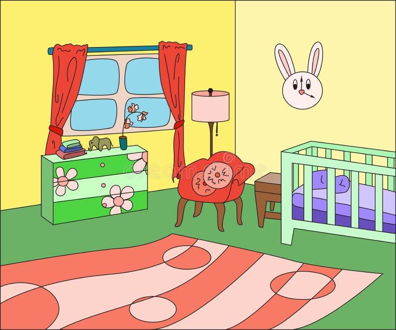 Bande dessinée intérieure de chambre d'enfant illustration stock