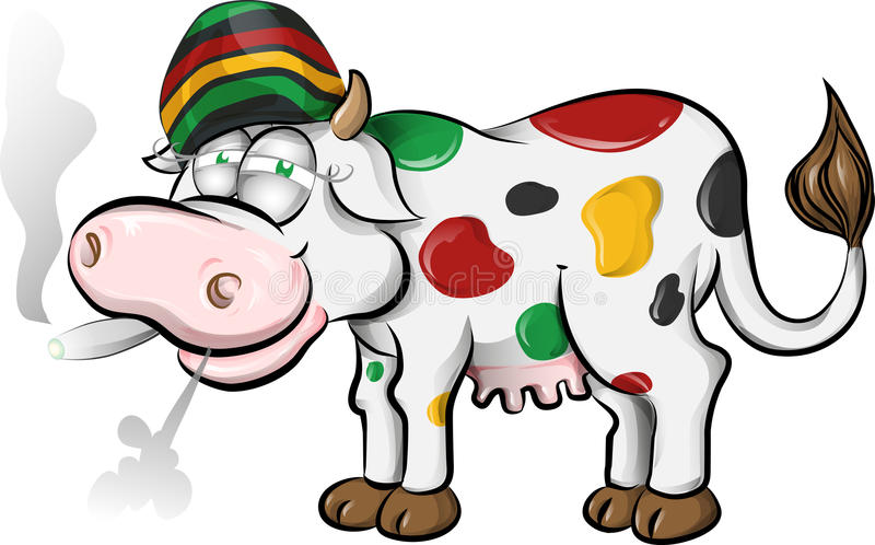 Bande dessinée jamaïcaine de vache illustration de vecteur