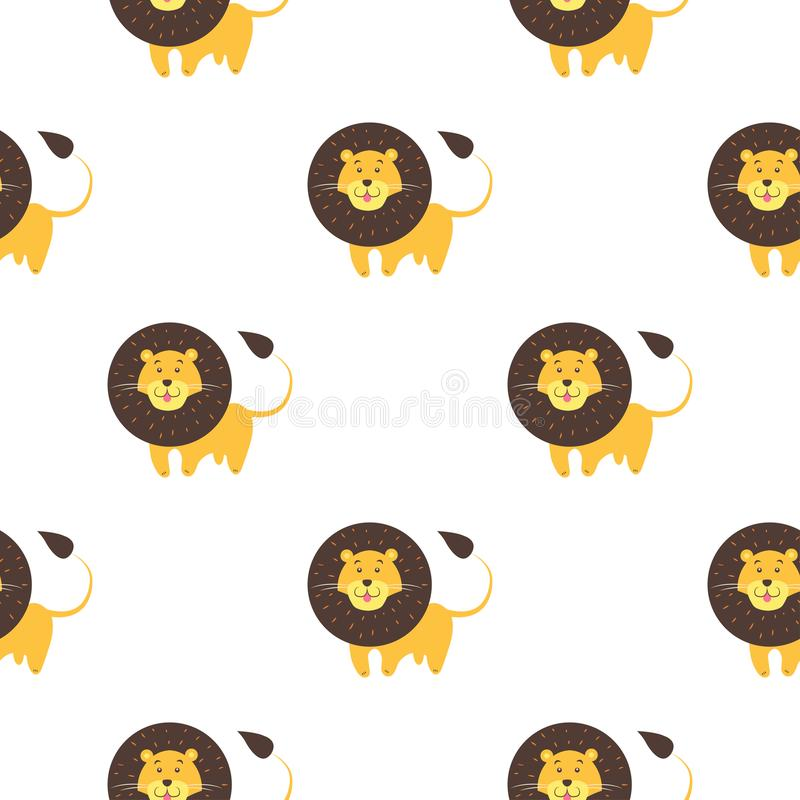 Bande dessinée Lion Seamless Pattern sur le fond blanc illustration stock