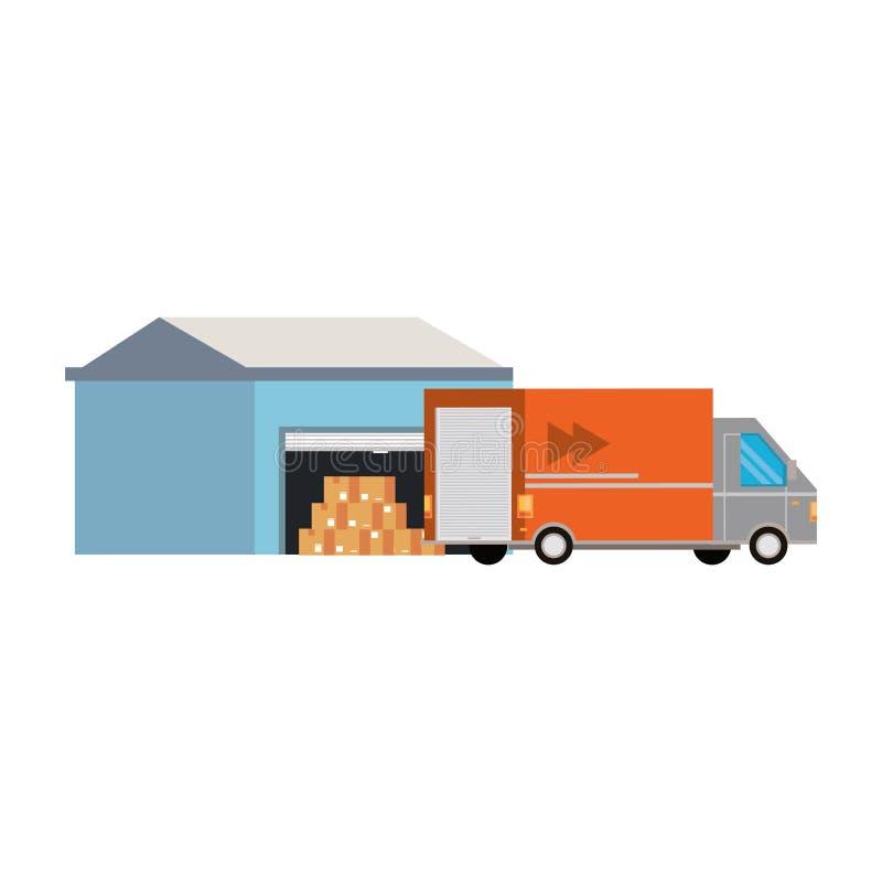 Bande dessinée logistique de expédition de cargaison de la livraison illustration libre de droits