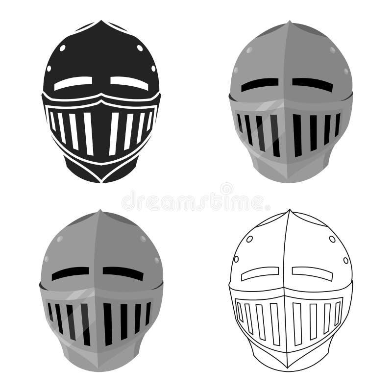 Bande dessinée médiévale d'icône de casque Icône simple d'arme des grandes munitions, bras réglés illustration de vecteur