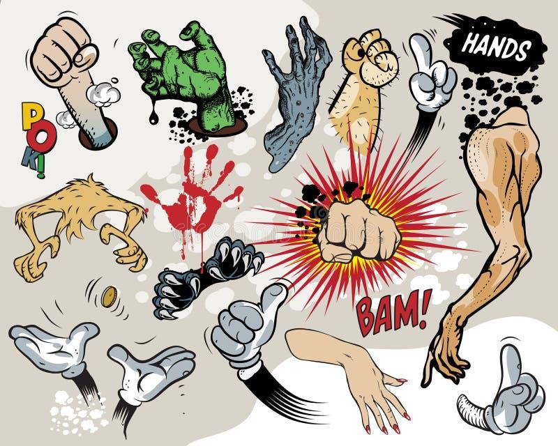 Bande dessinée - mains. illustration stock