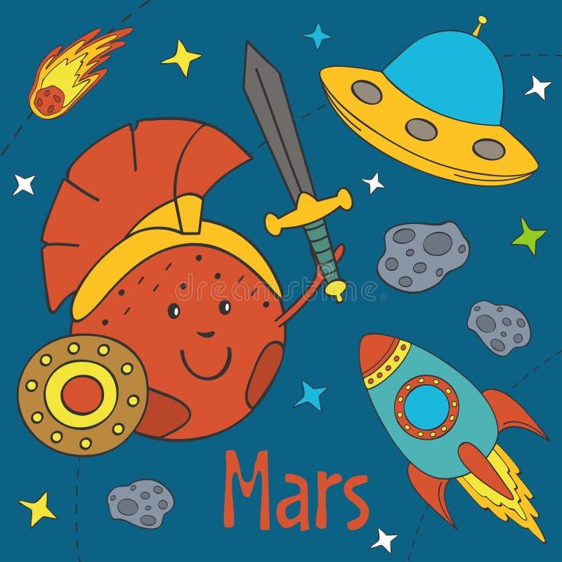 Bande dessinée Mars drôle illustration de vecteur