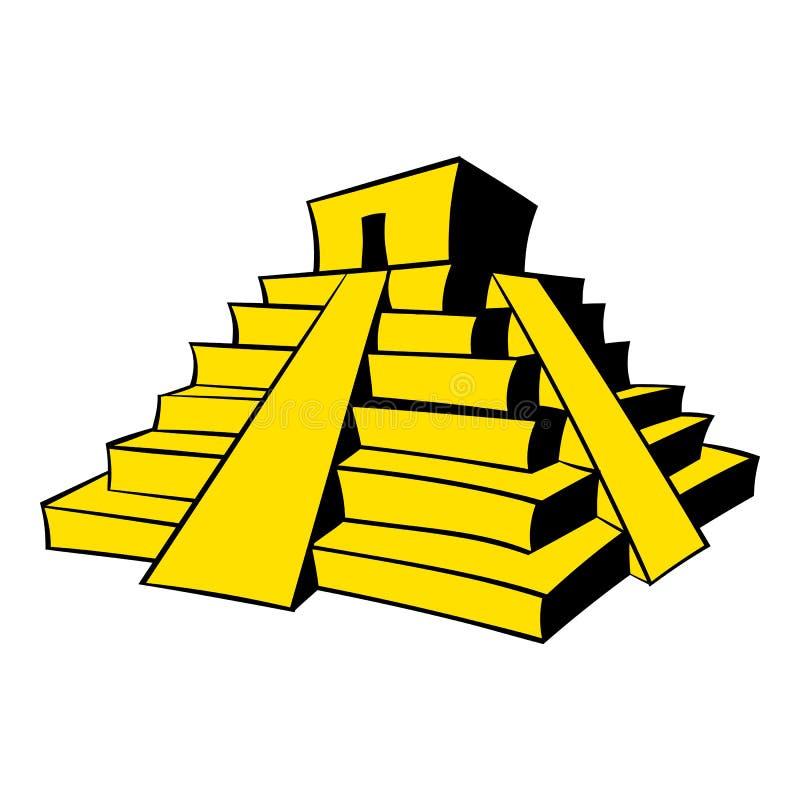 Bande dessinée maya d'icône de pyramide illustration de vecteur