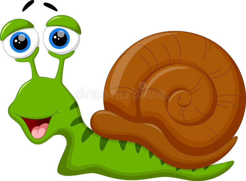 Bande dessinée mignonne d'escargot illustration de vecteur