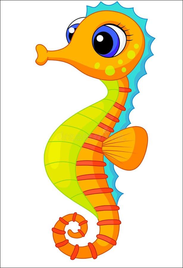 Bande dessinée mignonne d'hippocampe illustration libre de droits