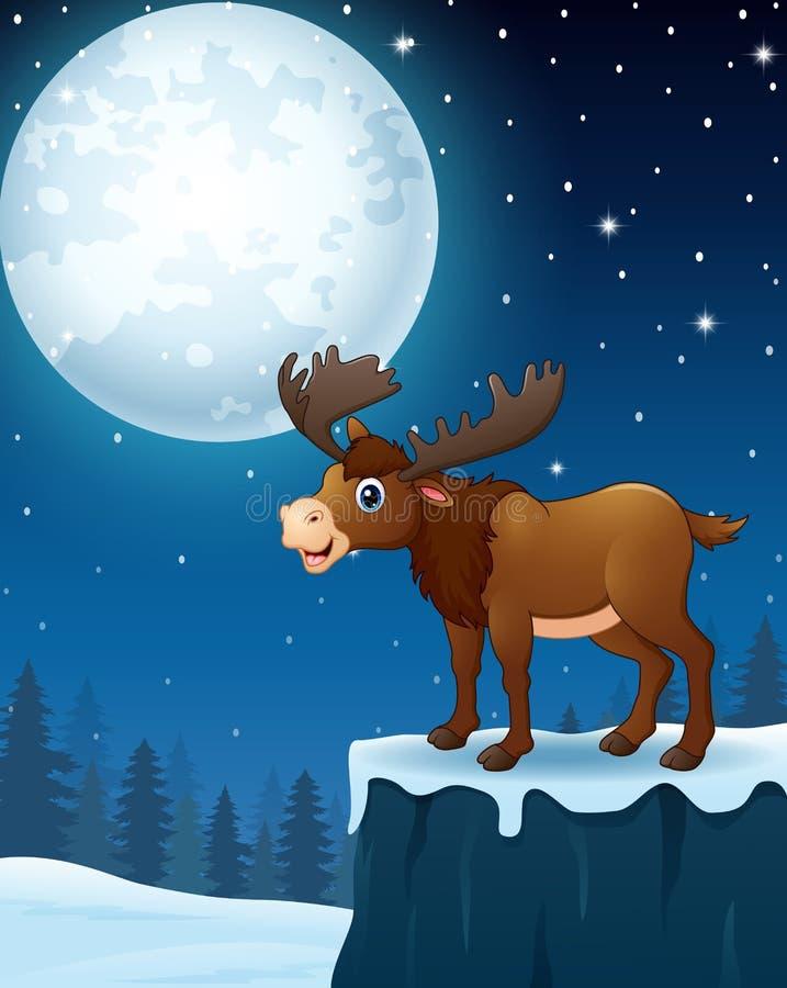 Bande dessinée mignonne d'orignaux à l'arrière-plan de nuit d'hiver illustration libre de droits