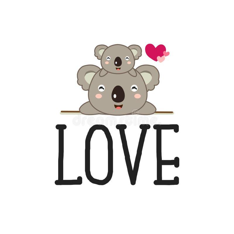 Bande dessinée mignonne d'ours de koala avec amour illustration de vecteur