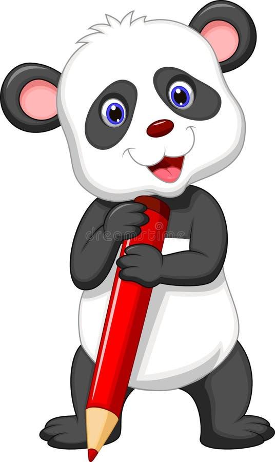 Bande dessinée mignonne d'ours panda tenant le crayon rouge illustration de vecteur