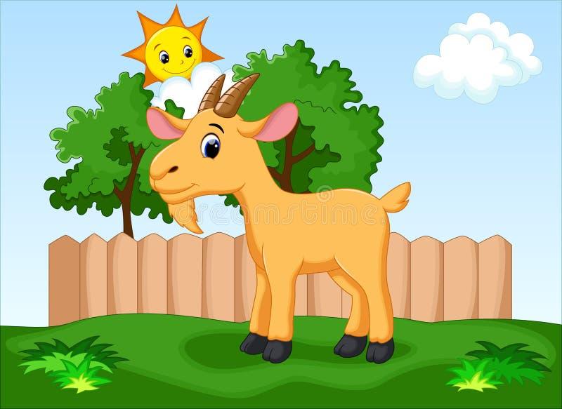 Bande dessinée mignonne de chèvre illustration de vecteur