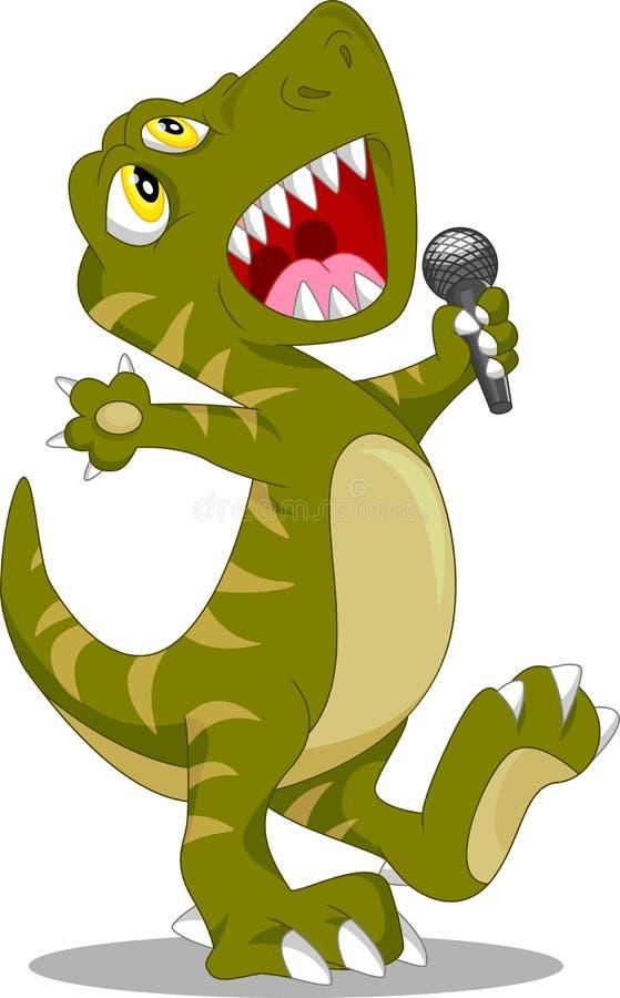 Bande dessinée mignonne de chant de dinosaure illustration libre de droits