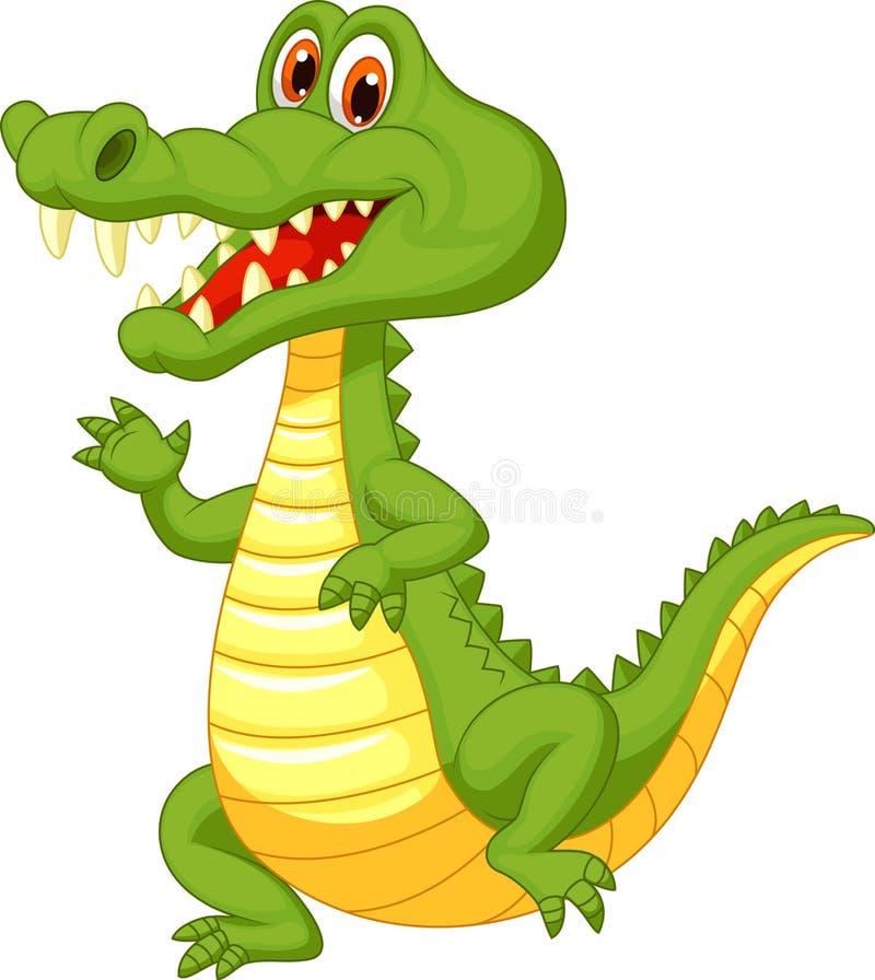 Bande dessinée mignonne de crocodile illustration de vecteur