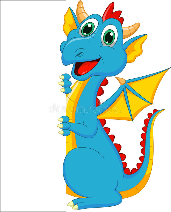 Bande dessinée mignonne de dragon avec le signe vide illustration stock