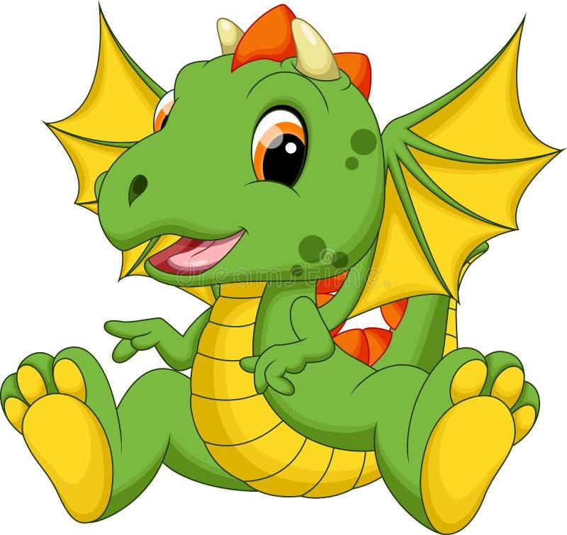 Bande dessinée mignonne de dragon de bébé illustration stock