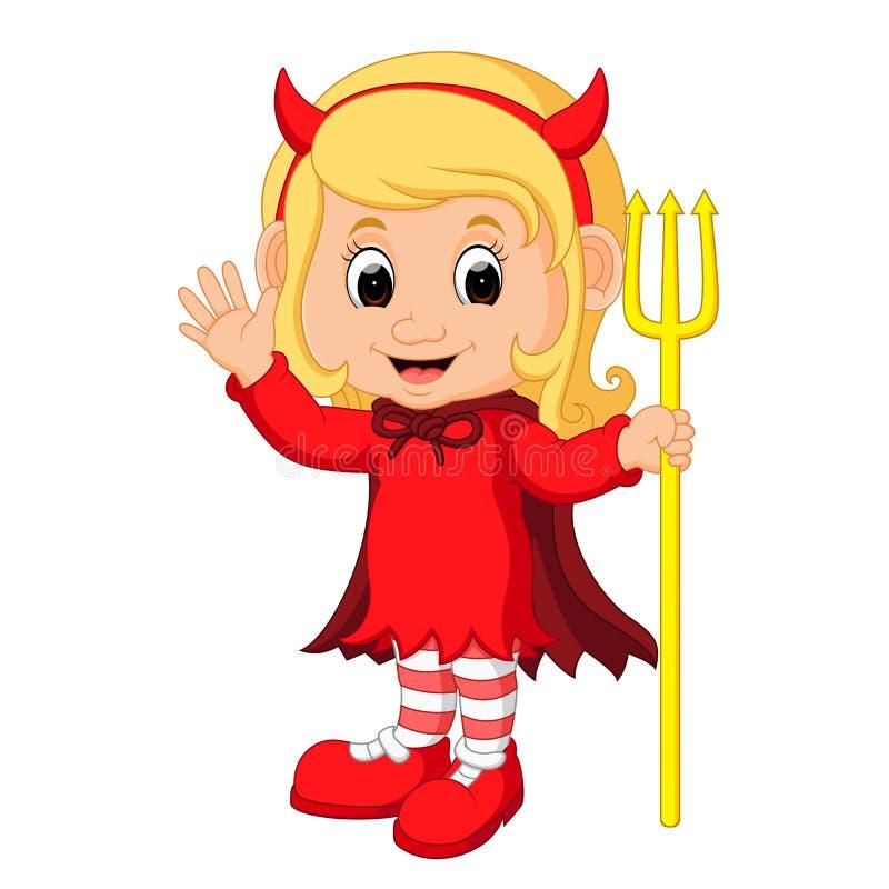 Bande dessinée mignonne de fille de diable illustration de vecteur