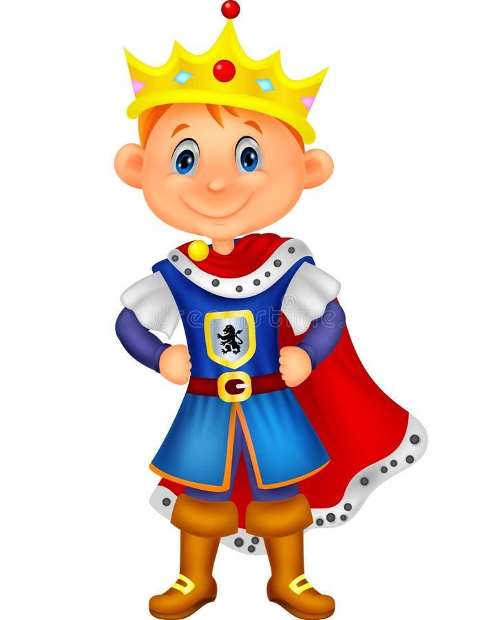 Bande dessinée mignonne de garçon avec le costume de roi illustration stock