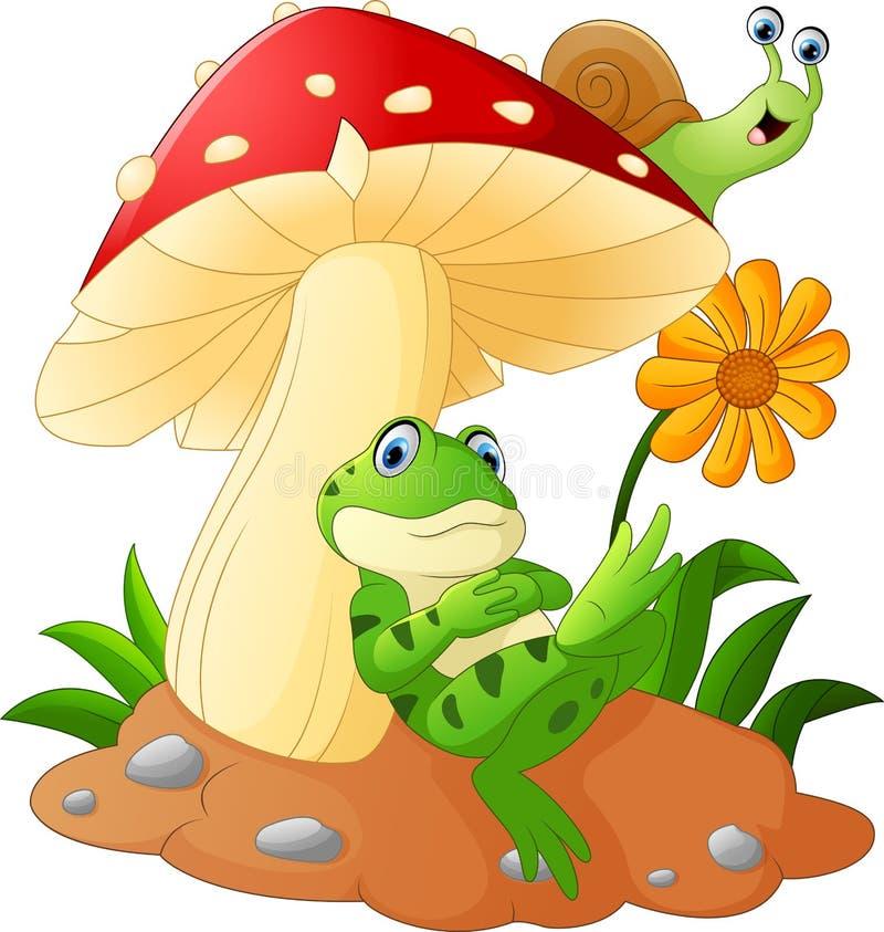 Bande dessinée mignonne de grenouille et d'escargot avec des champignons illustration stock