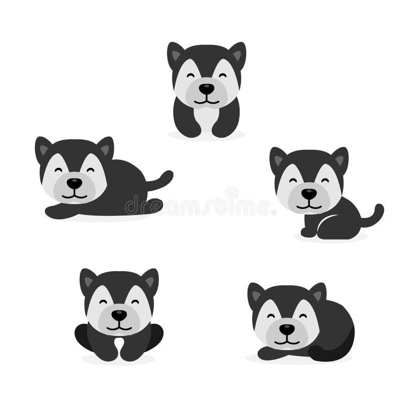 Bande dessinée mignonne de Husky Dog de Sibérien dans différentes poses Illustration de vecteur illustration stock
