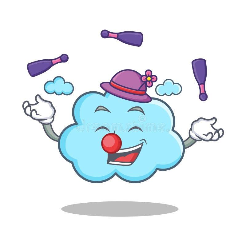 Bande dessinée mignonne de jonglerie de caractère de nuage illustration stock