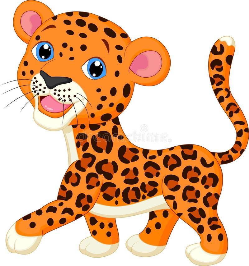 Bande dessinée mignonne de léopard illustration libre de droits